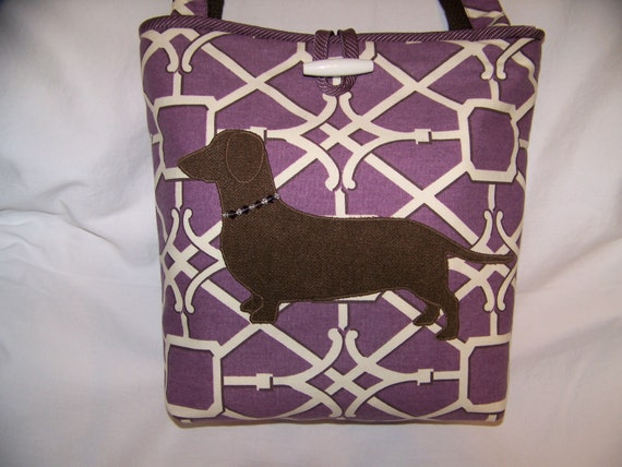 New Handmade-Bag-Dachshund-Wiener Dog-Handbag Purse with Beaded Collar