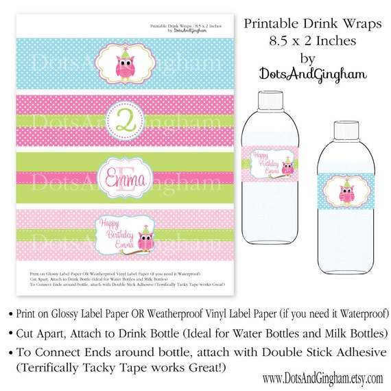 Owl birthday printable water bottle label drink wrap owl water owl birthday printable water bottle label drink wrap owl water bottle labels owl girl birthday water wraps owl look whos one look whos two pronofoot35fo Gallery