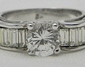 Silver Tone Solitaire Clear Rhinestone with Baguettes Ring - Size 8 1/4