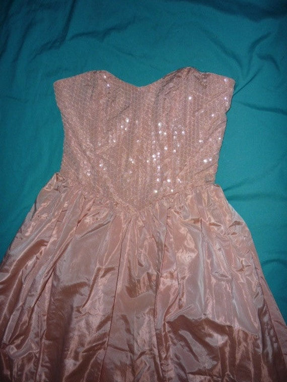 vintage strapless pink peach taffeta gown with sequenced bodice, good for prom or formal 80s, 50's styled