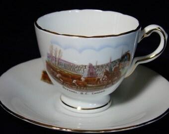 English Teacup 1950s Vintage H&M English Bone China Teacup Quesnel B.C. Canada Souvenir Teacup and Saucer set Tea Cup