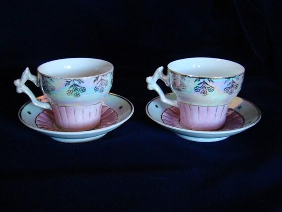Vintage Pair of German Demitasse Cups and Saucers pre 1920s