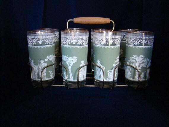 Vintage Jeannette Hellenic Glass Jasperware Set with Caddy c.1960s