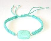 Turquoise  Natural Stone  Macrame  Bracelet