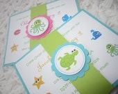 Under the Sea, Sea, Beach, Baby Shower, Birthday, Handmade Invitation, Boy or Girl