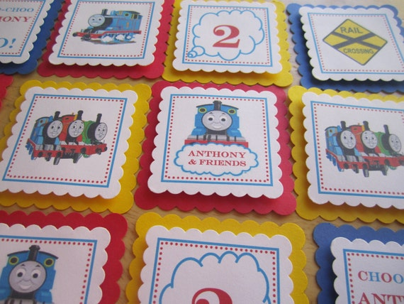 Thomas the Train Inspired Cupcake Toppers or Party Favor Tags- Customized with name & age