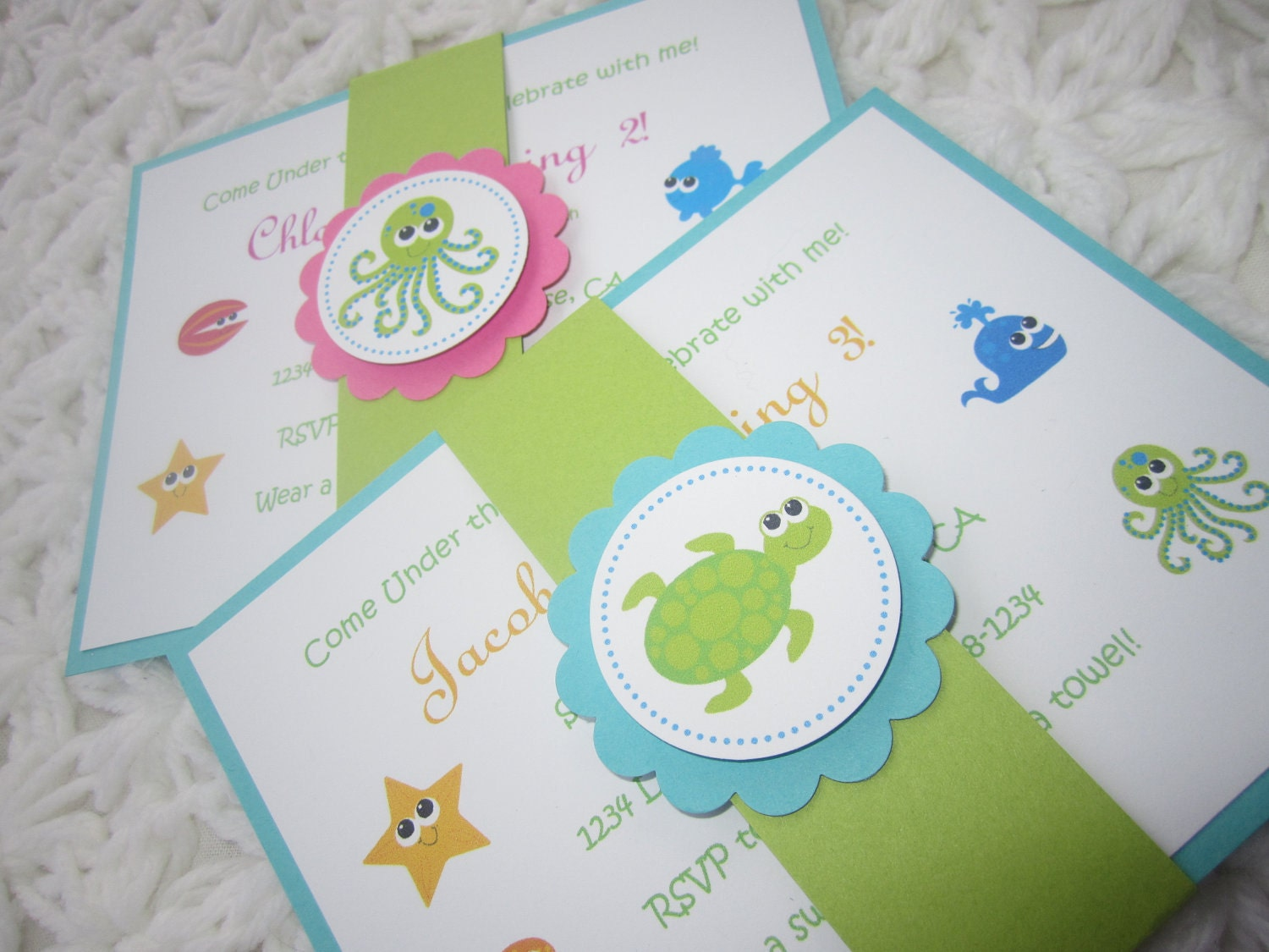 custom listing for krichael under the sea handmade invitation