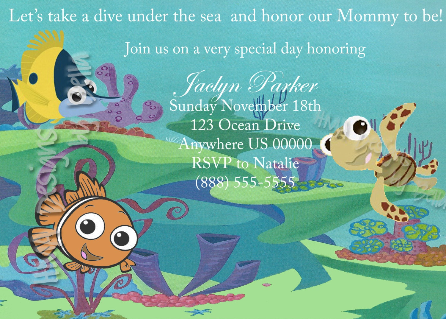 finding nemo invite by hmadesignsbybella on etsy