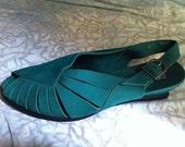 Arche Green Peep-Toe Leather Wedge Slingbacks Size 39 or 7.5/8