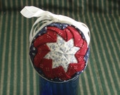 Folded Patchwork Ornament -- Red White and Blue -- Patriotic -- Americana