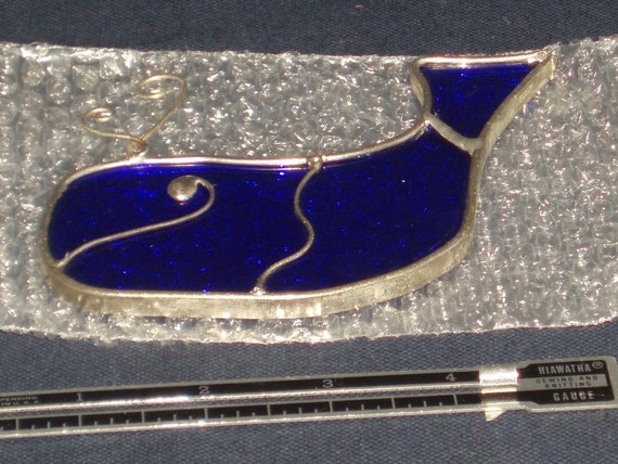 Vintage Blue Whale Stained Glass Sun Catcher