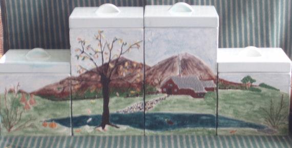 Four Seasons Canister Set -- Vintage 1970s