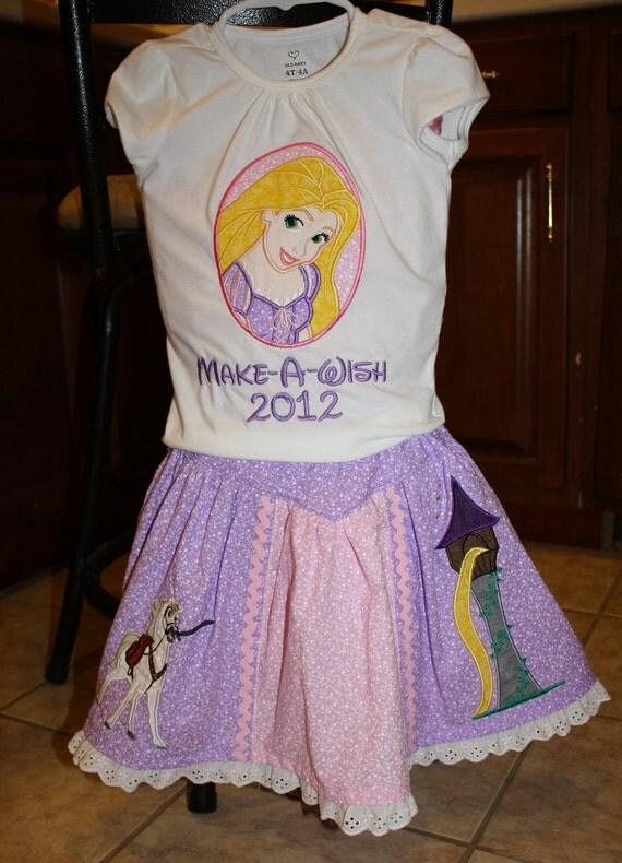 Custom Rapunzel inspired applique T shirt and skirt set - Sizes 2T - 8 years