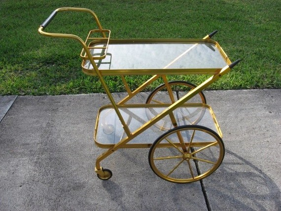 Reserved for M Nantes Retro Midcentury Modern Anodized Aluminum Bar Cart Retro Made in Peru 1960s