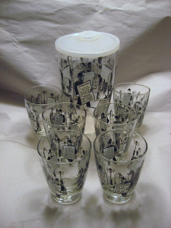 1960s Vintage Glass Cocktail Shaker 6 Glasses Recipes Top Hatted Gentlemen and Skyscrapers