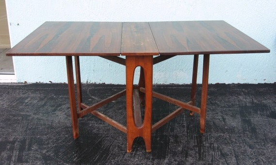 Vintage Norwegian Rosewood Dropleaf Table Made in Norway Danish Modern Mod