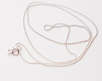 18 Inch Sterling Silver 1 mm Beaded Chain, Bead Ball Chain, Sterling Silver Necklace Chains, Sterling Silver Necklace