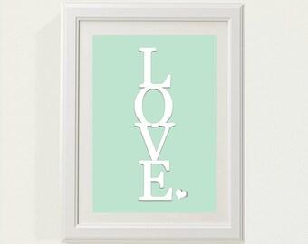 "Mint Green ""LOVE"" Nursery decor, baby nursery art. Nursery Wall quote, typographic print, 8x10"" PDF"