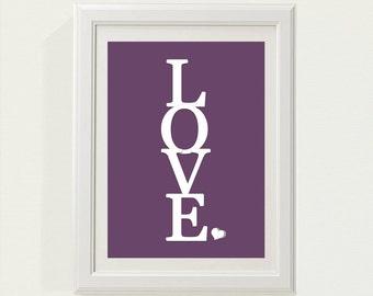 "Purple ""LOVE"" Nursery decor, baby nursery art. Nursery Wall quote, typographic print, 5x7"" PDF"