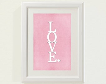 "Pink ""LOVE"" Nursery decor, baby nursery art. Nursery Wall quote, typographic print, 8x10"" PDF"