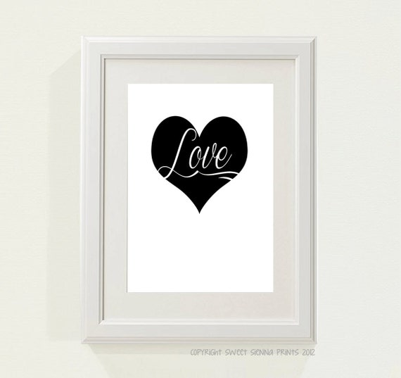 "Black and White ""LOVE"" Nursery decor, baby nursery art. Nursery Wall quote, typographic print, 5x7"" PDF Printables"