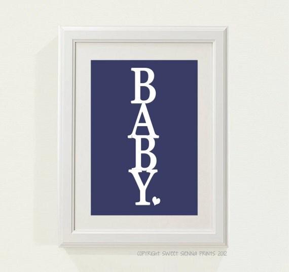 Navy Blue Wall Decor Nursery : Navy blue baby nursery decor by sweetsiennaprints