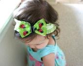 Baby Headband - Newborn Headband - Green Ladybug Baby Headband - Infant Hair Bow - Baby Girl Photography Prop
