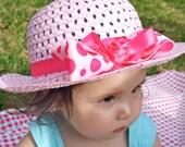 Girl Sun Hat - Baby Sun Hat - Pink Baby Hat - Pink Polka Dot Hair Bow