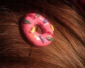Handmade/painted Doughnut Hair pin