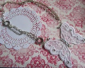 June On Trend Handmade vintage inspired Lace butterfly necklace statement piece