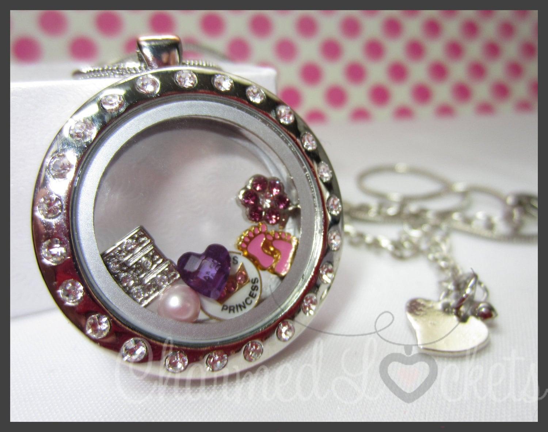 choice of cz floating charm locket with 5 charm bundle