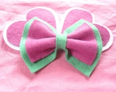 Cute pastel green/pink colored Hair Bow - can be made in any color