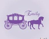Girl's Custom Name Horse and Carriage, Princess Vinyl Decal- Wall Art