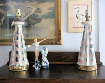 1950s Set of Two Pink, Black, and Gold Ceramic Lamp Bases