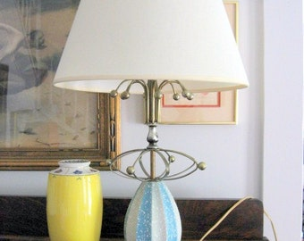 SALE 1950s Atomic Decorative Baby Blue Lamp