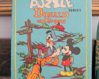 "SALE 1950s Ontex Walt Disney Puzzle Series 503 Donald and his gang ""Easy Puzzles for Little Hands"" Made in Canada"