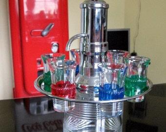 SALE 1950s Chrome and Glass Liquor Dispenser includes 6 shot glasses
