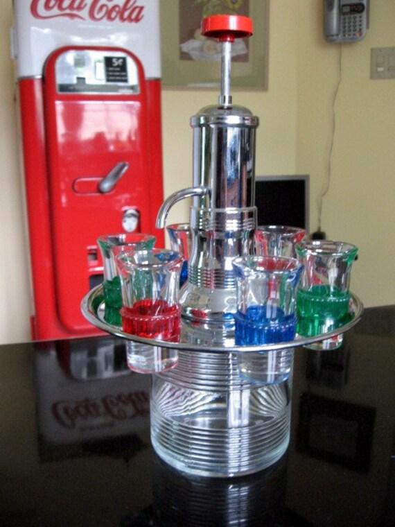 1950s Chrome and Glass Liquor Dispenser includes 6 shot glasses