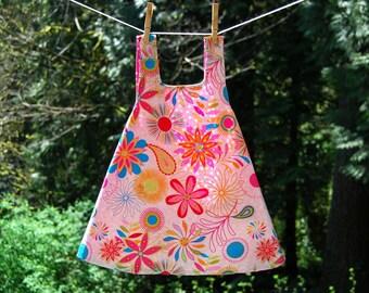 Reversible Sundress, Size 3T - Pink Flower Reversible Summer Pinafore