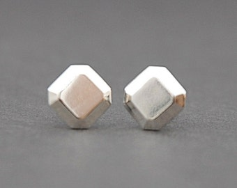 Faceted square stud earrings in sterling silver