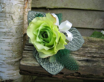Flower Corsage, Green Single Rose Flower. Wedding, Prom or Event.