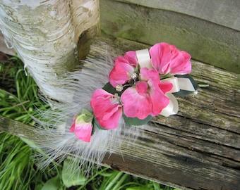 Corsage, Cerise Pink Sweet Pea Flowers