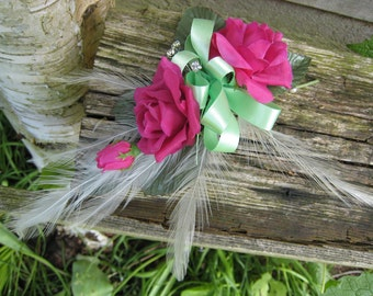 Flower Corsage, Ceris Pink Roses. Wedding, Prom or Event.