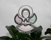 Stained Glass Iridescent White Angel Plant Stake