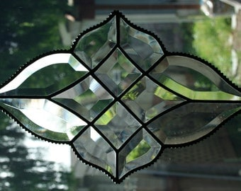 Stained Glass Beveled Diamond Shaped Window Ornament with Beaded Edge, Stained Glass Artwork