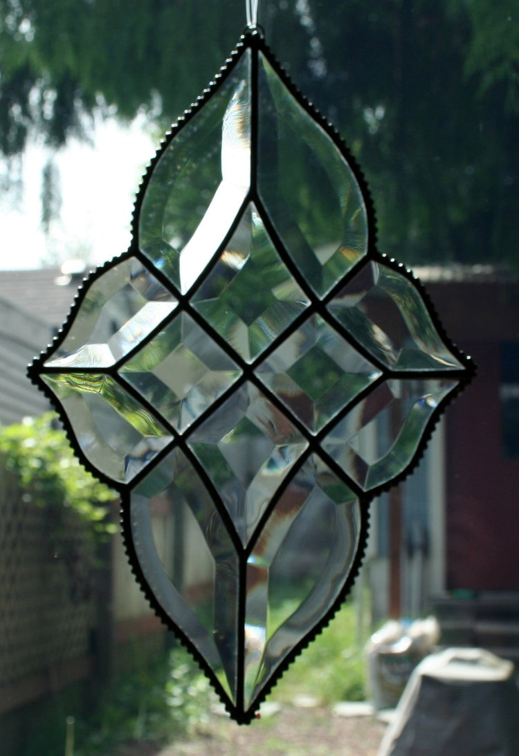 Stained Glass Beveled Diamond Shaped Window By