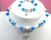 Little Girls Blue Cats Eye HEART Necklace and Bracelet Little Girls Jewelry Set Girls Swarovski Crystal Necklace Bracelet