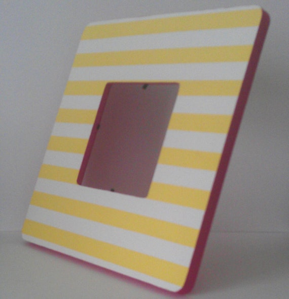 Hand-painted Yellow and White Striped Picture Frame