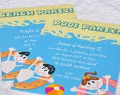 Pool Party Beach Party invitation PERSONALIZED pdf printable birthday party invitation - portrait format