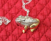 This Adorable Gold and Silver Toad Frog is a Liz Claibourne Brooch